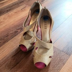Guess sparkly gold and pink peep toe heels